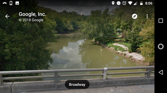 The view of the Kentucky River, as seen from the Broadway bridge, which is direcly above where the hump surfaced. Image from Google Maps.